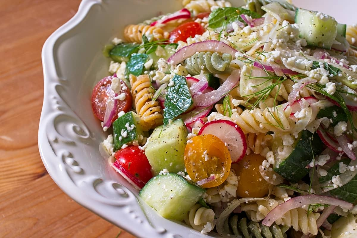 Summer Pasta Salad with Lemon Honey Vinaigrette