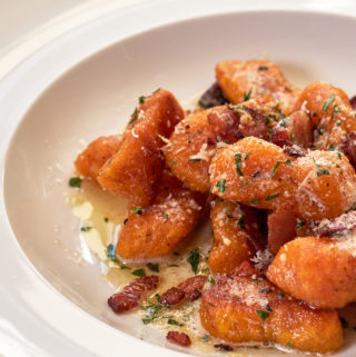 Sweet Potato Gnocchi with Maple Bacon Butter Sauce