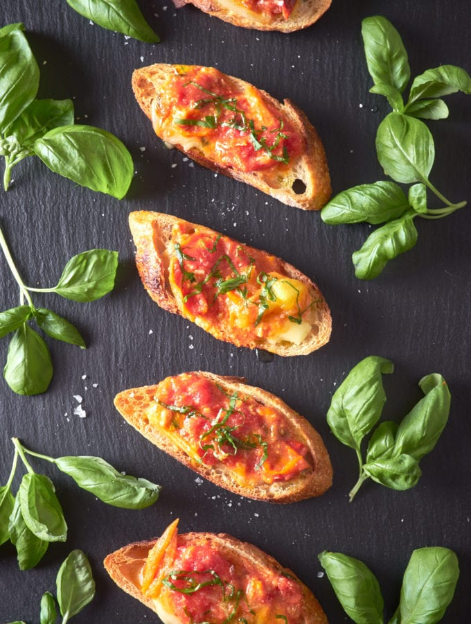 Tomato Cheese Crostini