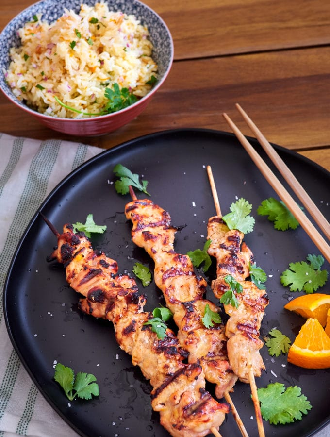 Orange Ginger Chicken Skewers