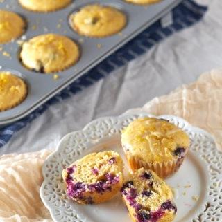 Lemon Blueberry Corn Muffins