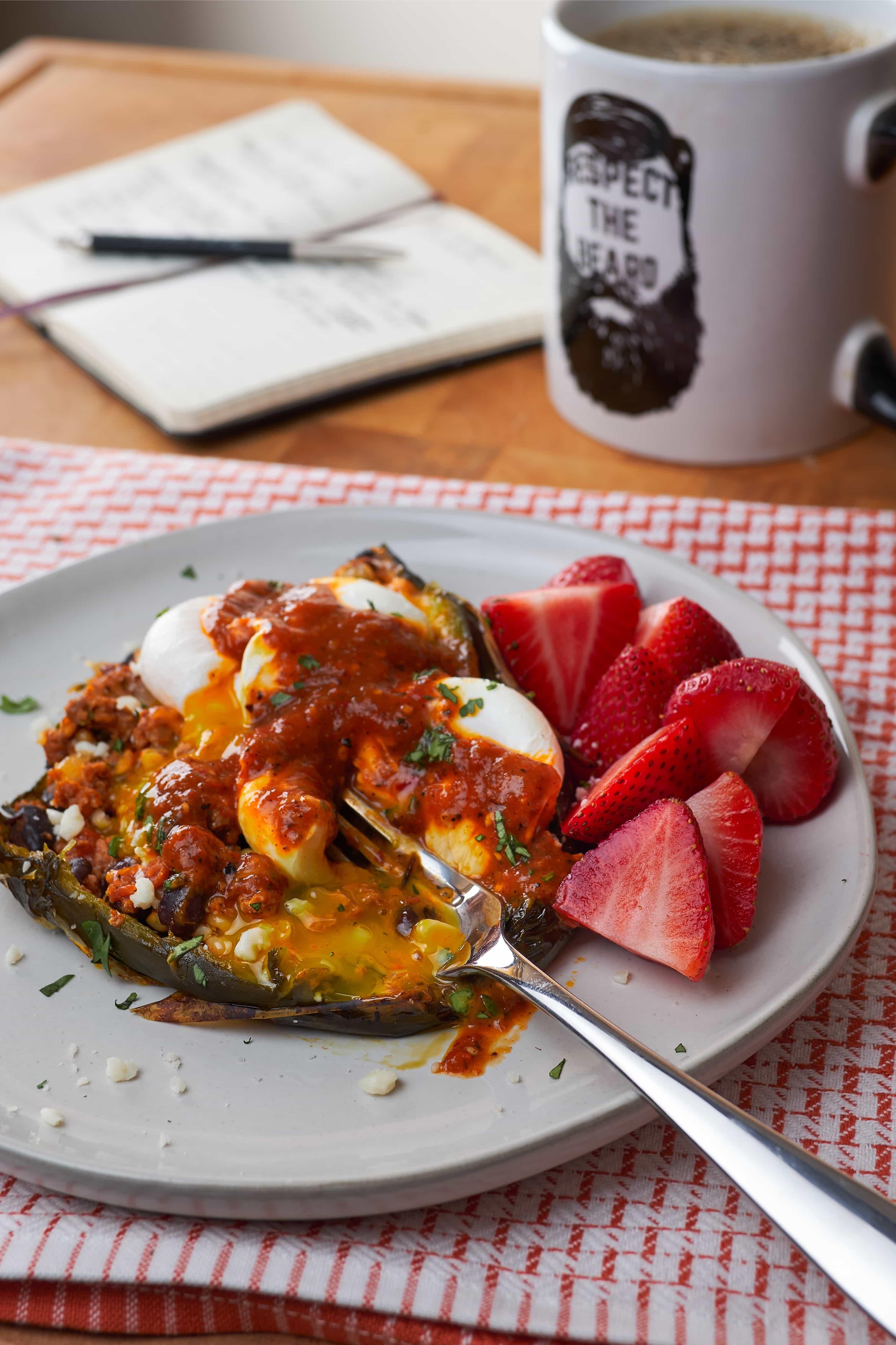 Bonus Shot: Breakfast Chorizo Stuffed Poblano with Poached Eggs!