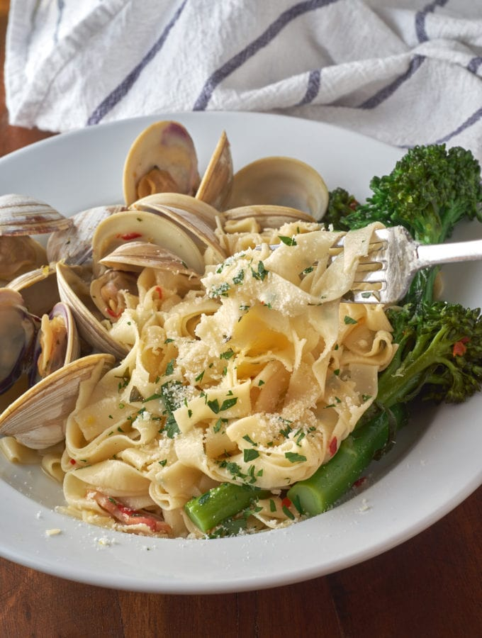 Homemade Fettuccine and Clams