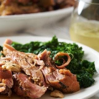 Garlic & White Wine Braised Bone-In Pork Shoulder