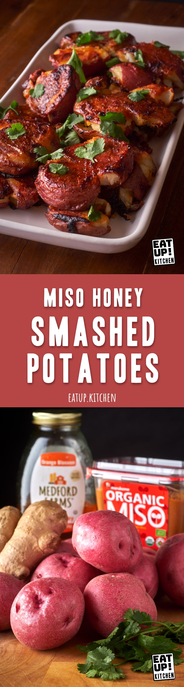 Miso Honey Smashed Potatoes