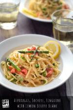 Asparagus, Sockeye, Linguine with Lemon Butter Sauce
