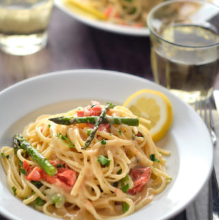Asparagus, Sockeye, Linguine with Lemon Butter Sauce