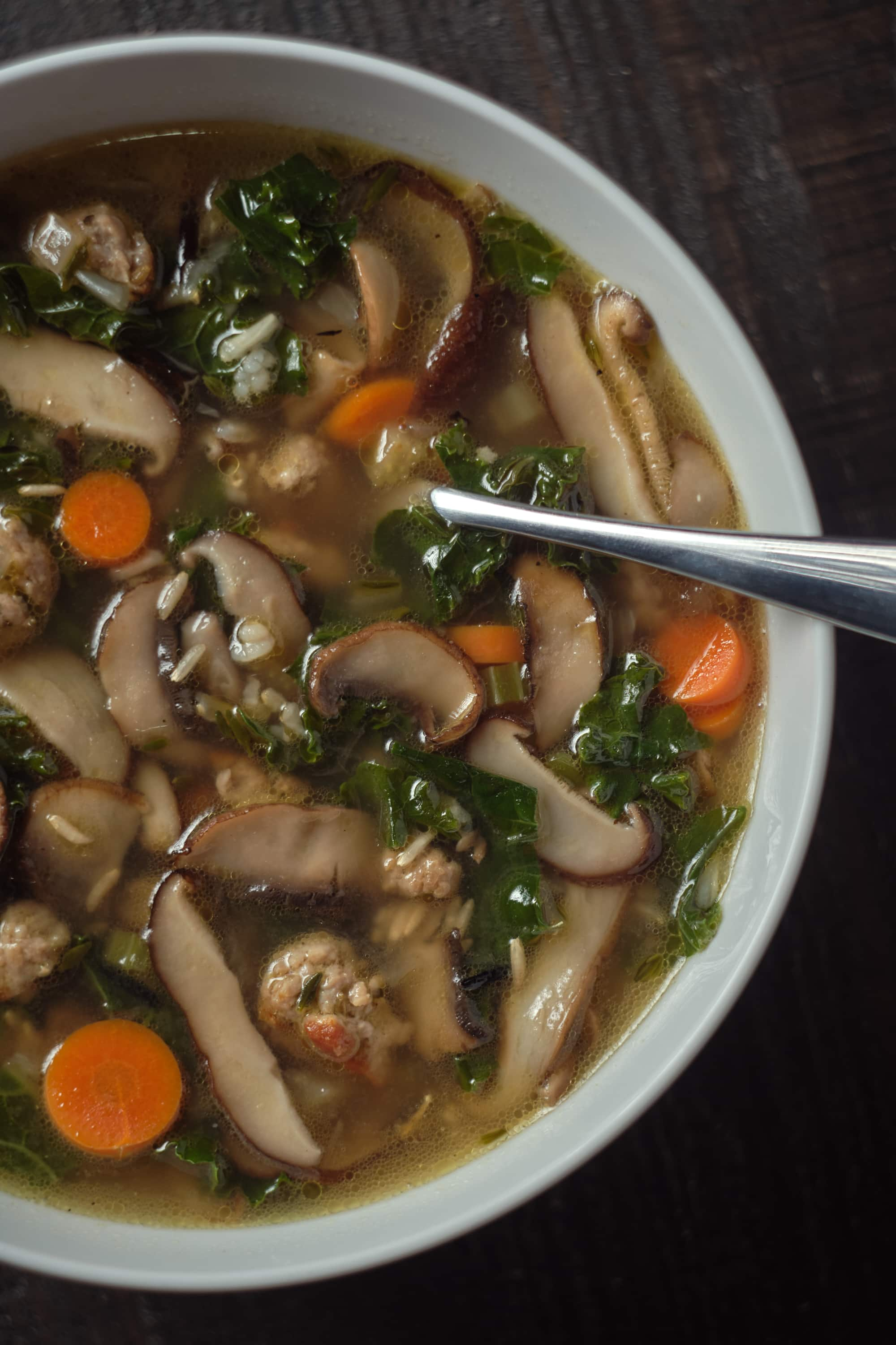Wild Rice and Mushroom Soup with Sausage
