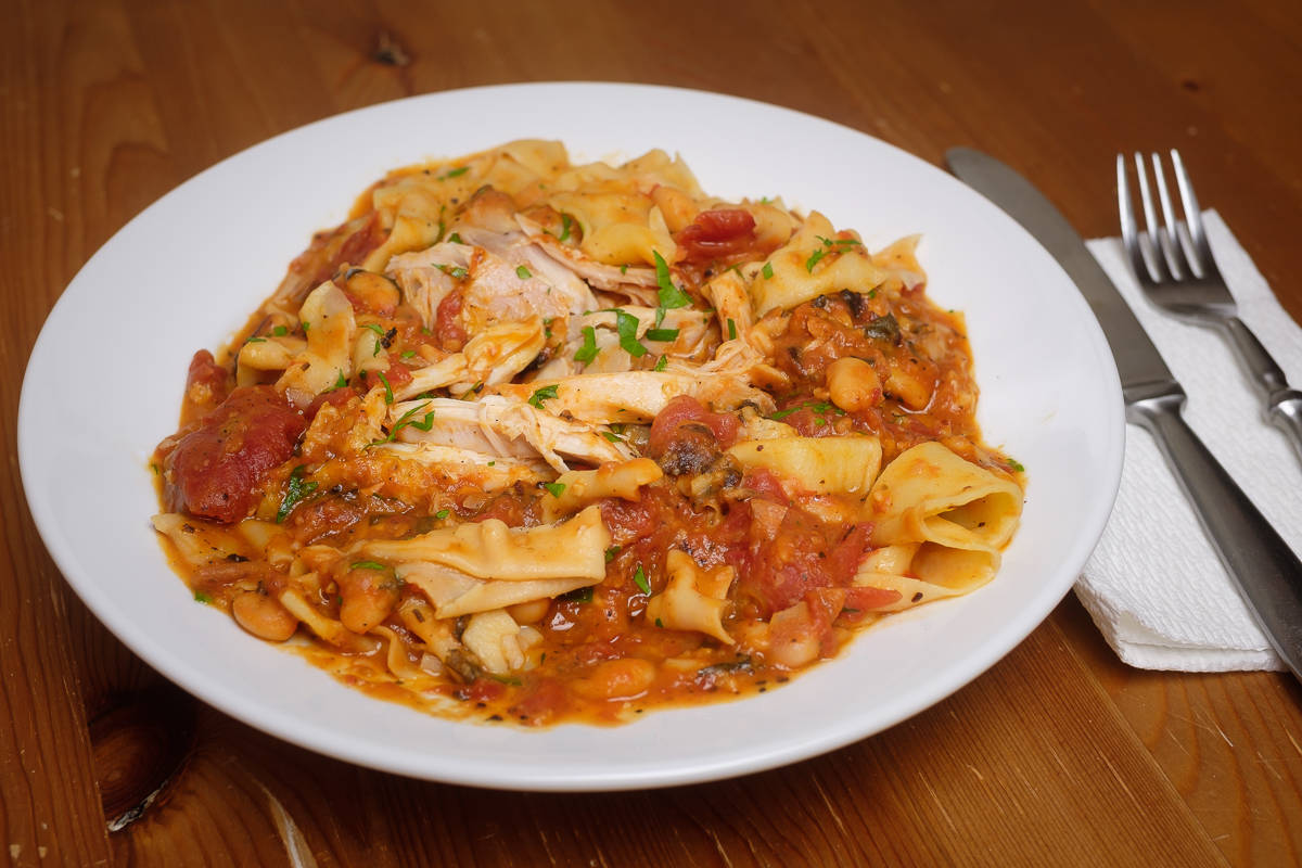 Tomato Braised Chicken with Homemade Pappardelle
