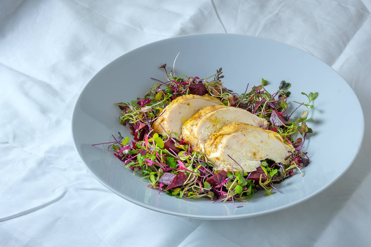 Microgreen Salad with Slow Roasted Chicken Breast