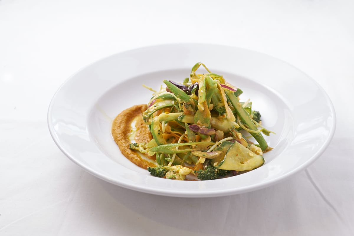 Shaved Vegetable Salad with Romesco Sauce