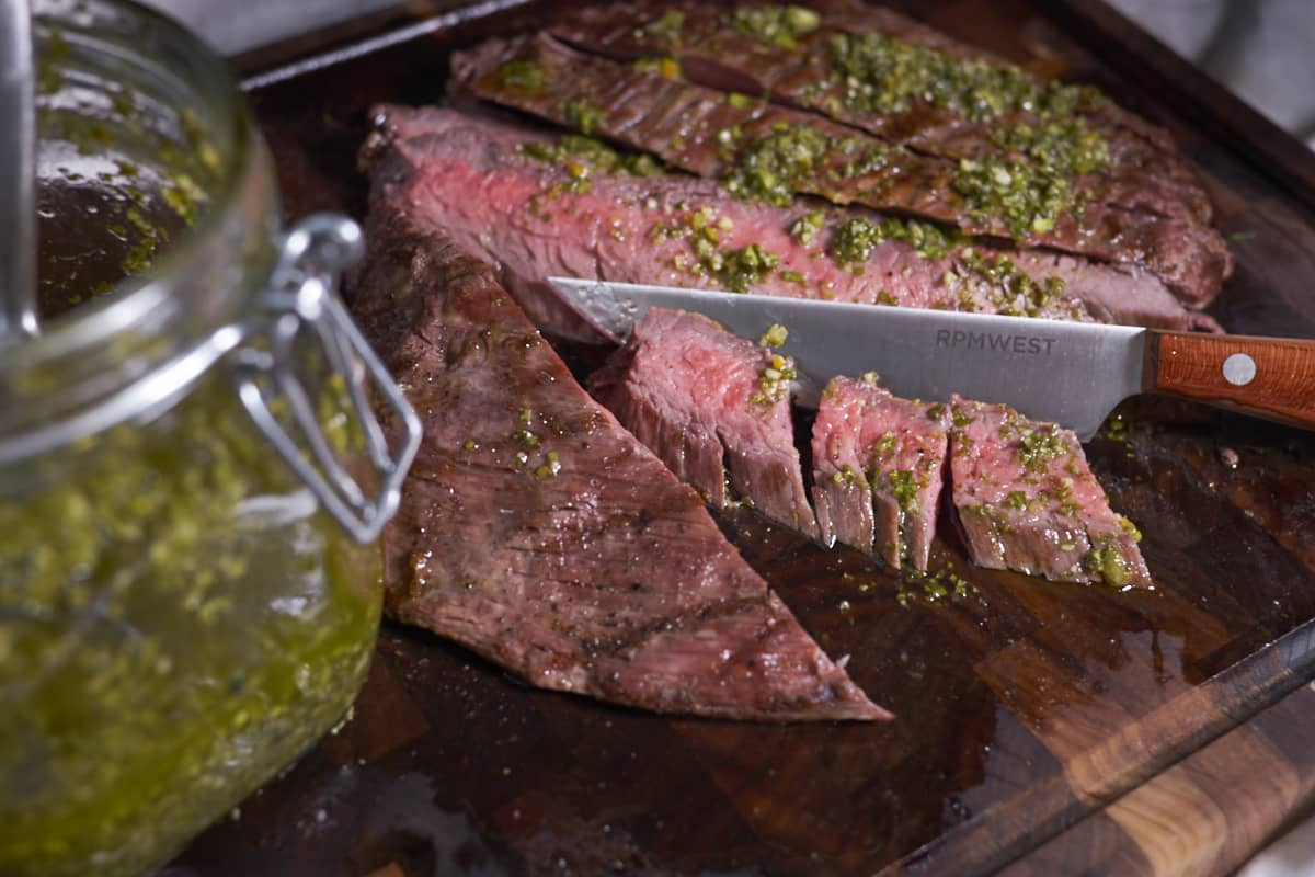 Grilled Flank Steak with Chimichurri and Charred Chard