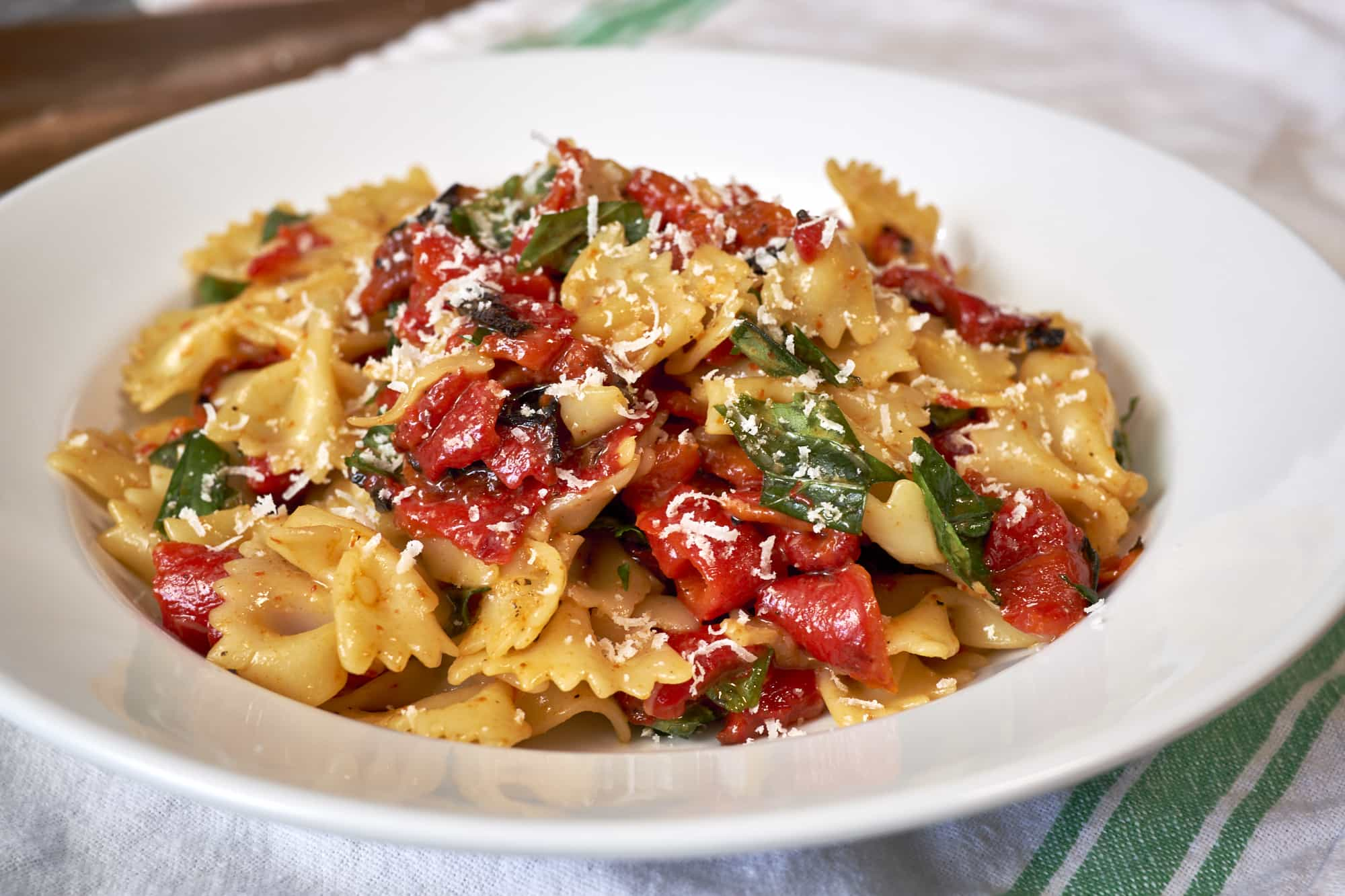 Bowtie Pasta with Home Roasted Red Peppers and Basil