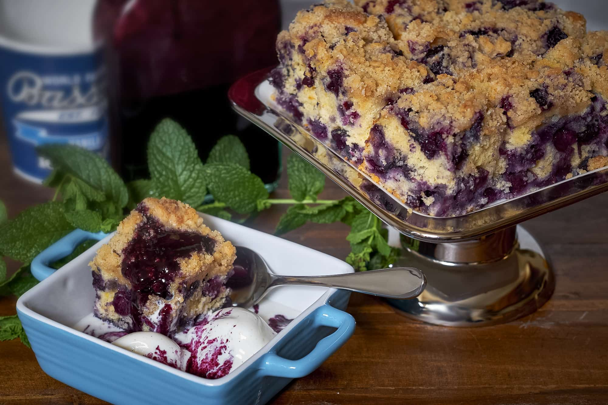 Blueberry Crumb Cake with Blueberry Bourbon Syrup
