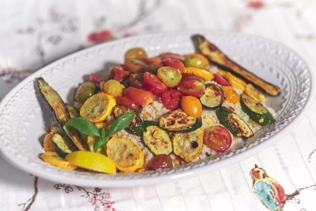 Pan Roasted Vegetables over Couscous