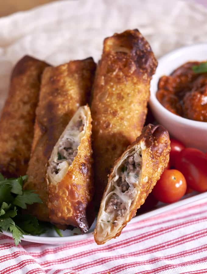 Meatball Eggrolls with Sundried Tomato Tapenade