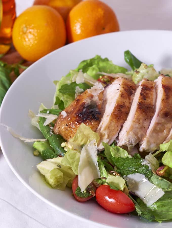 Mediterranean Roast Chicken Salad with citrus, herbs, and pistachios