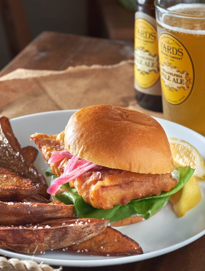 Beer Battered Fish and Chips Sandwich