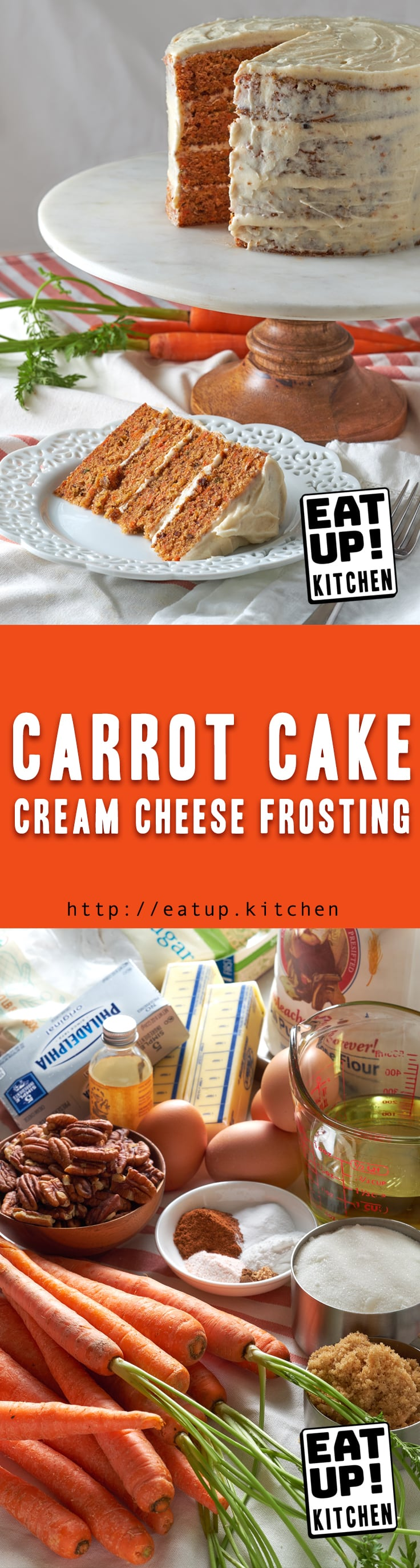 What Easter Dinner is complete without some Carrot Cake for dessert?? This updated fruitless recipe with Cream Cheese Frosting is just sweet enough and perfectly moist. We'll make quick use of a stand mixer and a sheet pan to make this four layer, six inch cake in just about an hour and a half.
