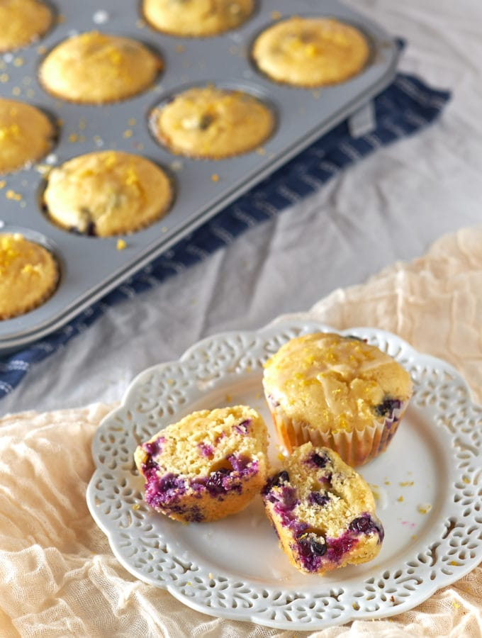 Lemon Blueberry Corn Muffins