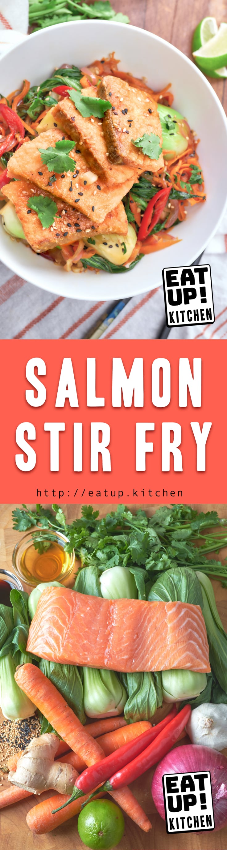 This simple crispy Salmon Stir Fry with Bok Choy and shredded Carrots is amazing. With just a light dusting of corn starch on some beautiful fatty salmon you can elevate this stir fry to something really special.