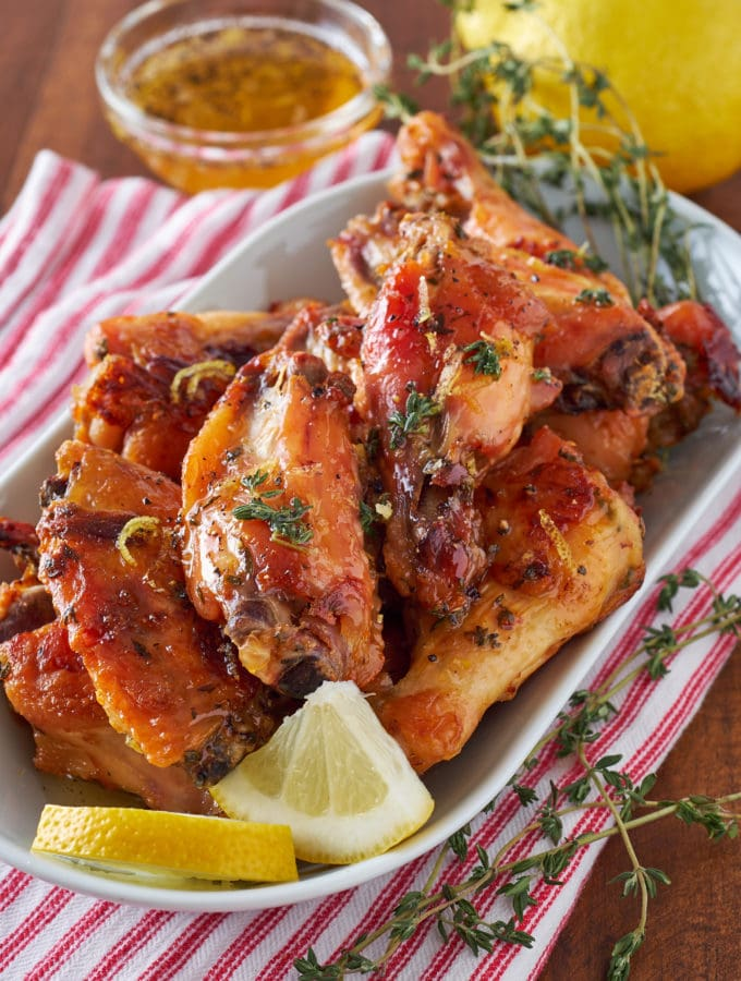 Slow Roasted Garlic Wings with Lemon, Honey, and Thyme